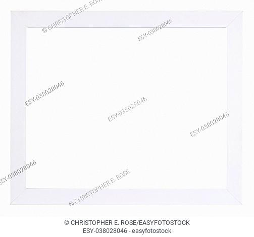 Empty picture frame isolated on white, in plain white high gloss finish