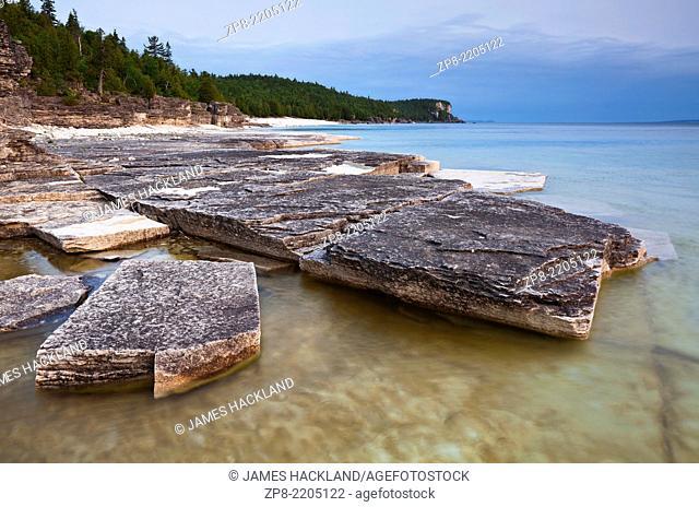 Layered rock formations on Georgian Bay, Bruce Peninsula National Park, Ontario, Canada