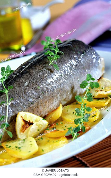 Baked-oven hake with potatoes