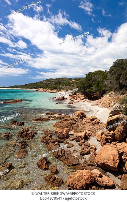 France, Corsica, Corse-du-Sud Department, Corsica South Coast Region, Baie de Rondinara bay, beach view