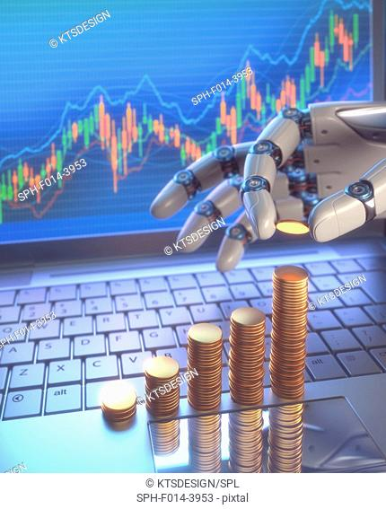 Robotic hand and stacks of coins, illustration