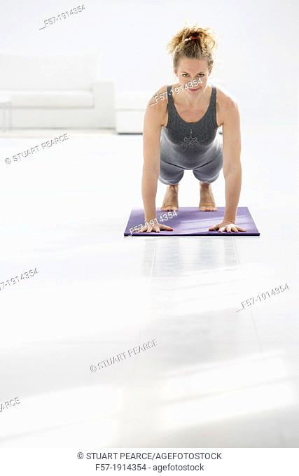 Healthy young woman doing the plank pose yoga position