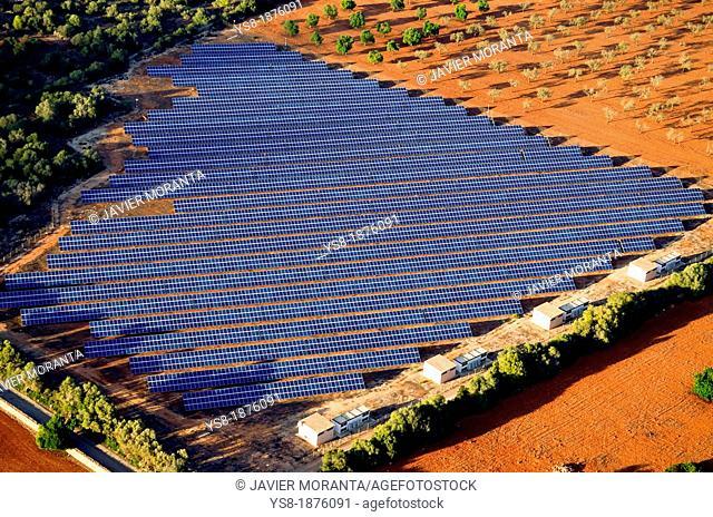 Spain, Balearic Islands, Mallorca, Aerial photo of solar panels