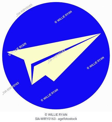 Paper plane in blue circle
