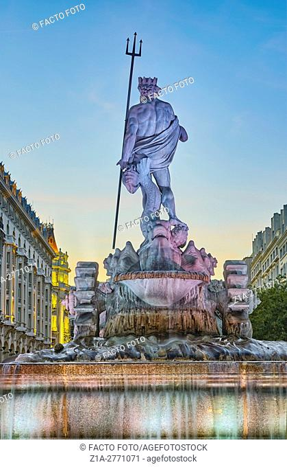 Rear view of Neptune fountain, located at the Paseo del Prado boulevard. Madrid, Spain