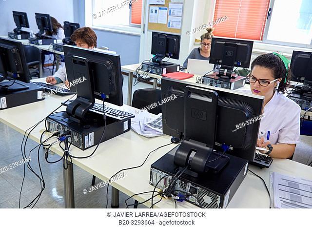 Medical students in computer classroom, Library, Hospital Donostia, San Sebastian, Gipuzkoa, Basque Country, Spain