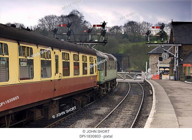Train at station, Grosmont, North Yorkshire, England