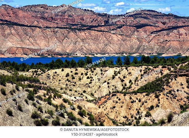 Reservoir Negratin, Embalse de Negratin, near the city of Baza, view from Freila in direction of Sierra de Castril, Altiplano region of Granada