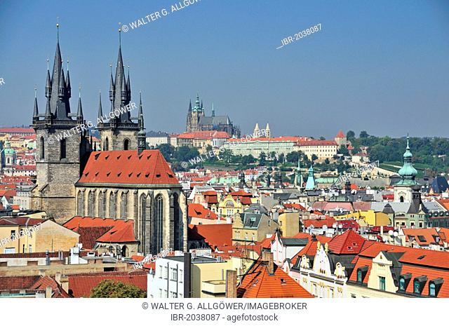 Panoramic view as seen from the Powder Tower, Church of Our Lady before Tyn, historic district, Prague Castle at the back, Prague, Bohemia, Czech Republic