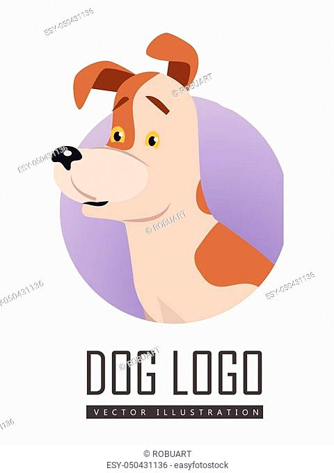 Dog vector logo in flat style. Russell Terrier bust in the blue circle illustration for pet shop, breed club logotype, app icon, animal infogpaphics elements