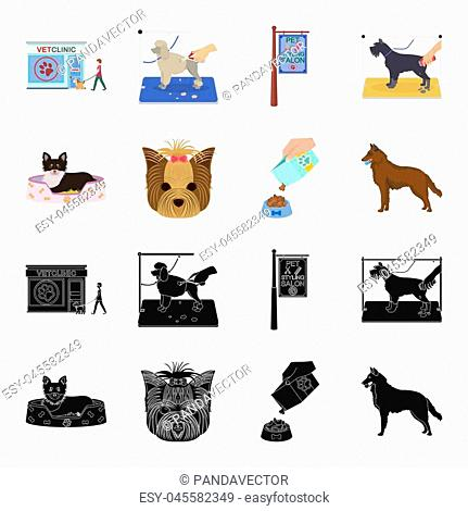 A dog in a lounger , a muzzle of a pet, a bowl with a feed, a sheepdog with a ball in his teeth. Pet , dog care set collection icons in black