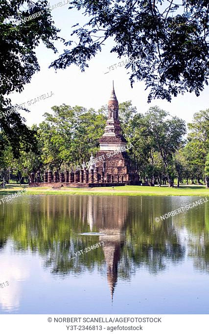Asia. Thailand, old capital of Siam. Sukhothai archaeological Park, classified UNESCO World Heritage. Wat Traphang Ngoen