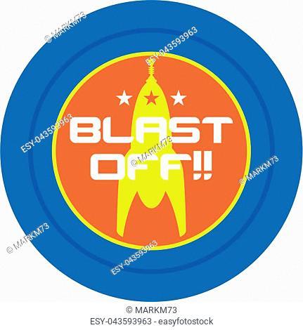 Retro Science Fiction Blast Off Spaceship Vector Illustration