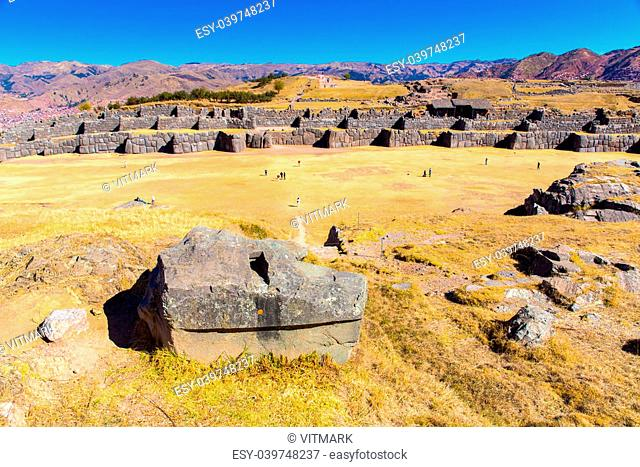 Inca Ruins - Saqsaywaman, Peru, South America. Archaeological complex, Cuzco. Example of polygonal masonry, 12 sided Hatunrumiyoc stone