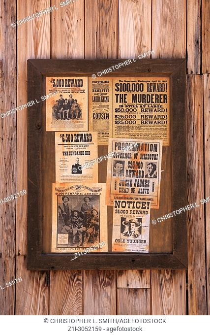 Wanted posters outside the Sheriff's office at the Old Tucson Film Studios amusement park in Arizona