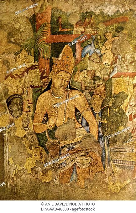 bodhisatva padampani ; Ajanta Caves ; Aurangabad ; Maharashtra ; India
