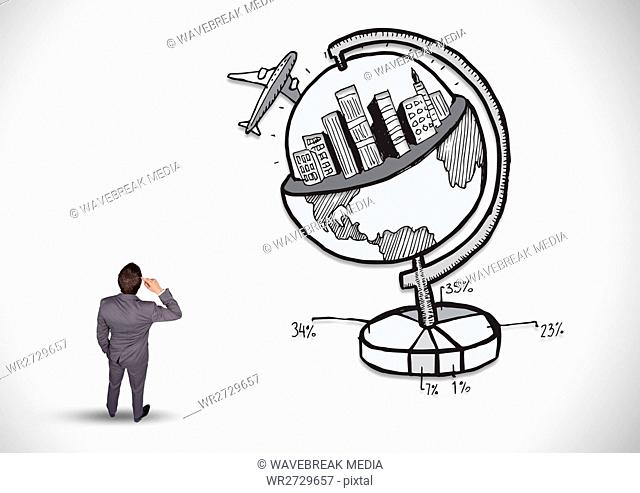 Thoughtful businessman with tourism concept