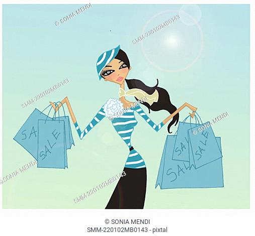 Woman with shopping bags from a sale