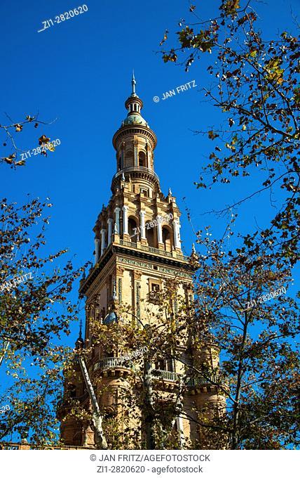belltower of giralda cathedral in sevilla, spain