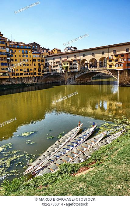 The Ponte Vecchio ('Old Bridge') is a medieval stone closed-spandrel segmental arch bridge over the Arno River, in Florence, Italy