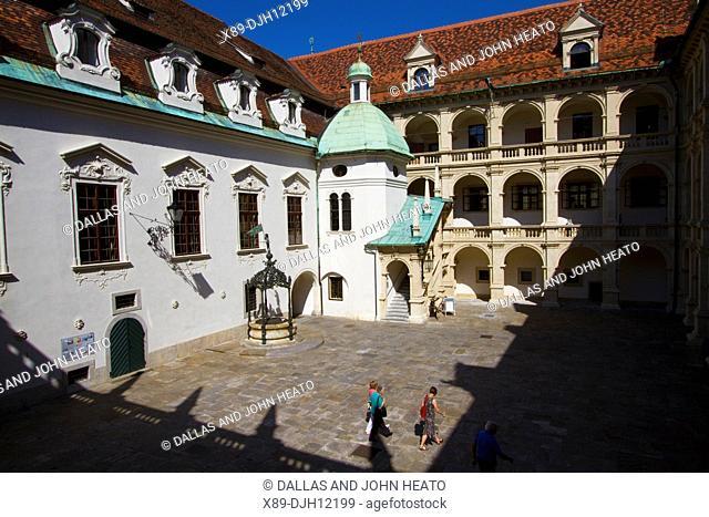 Austria, Styria, Graz, Landhaus, Landhaushof, Arcaded Courtyard