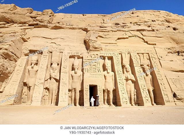 Abu Simbel, Egypt - front of the Nefertari Temple, Abu Simbel temple complex located on the Nasser Lake, Lower Nubia, Egypt
