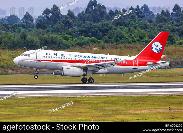 An Airbus A319 aircraft of Sichuan Airlines with registration number B-2298 at Chengdu airport, China, Asia