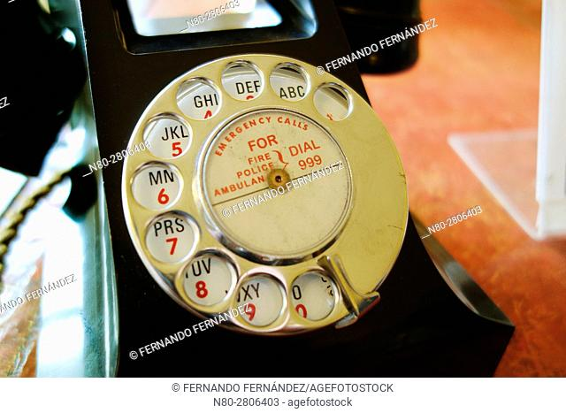 Old vintage telephone. Basildon Park. Country house. Berkshire. England