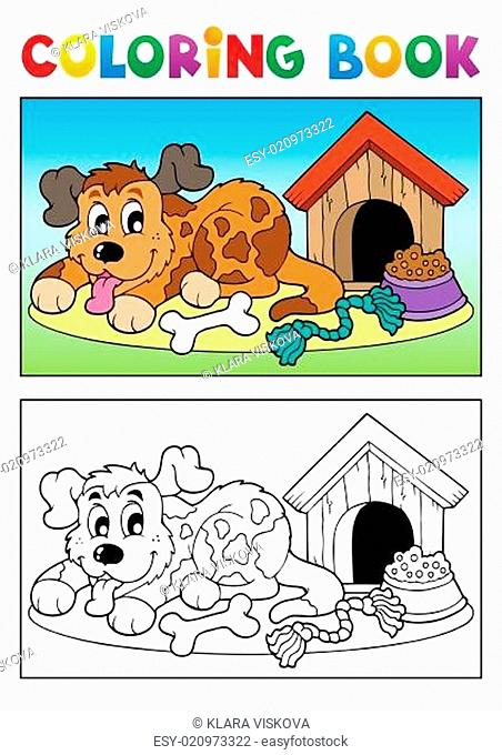 Coloring book dog theme 3