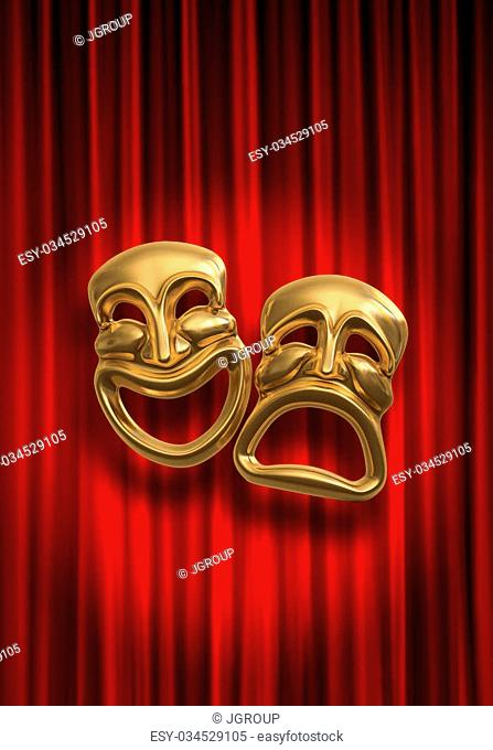 Classical comedy-tragedy theater masks against a red theatre curtain