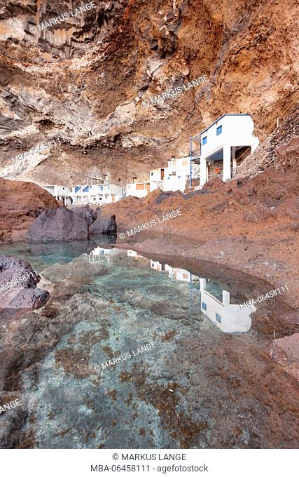 fisherman's houses in the Pirate's Cove Cueva de Candeleria, smugglers' nest, Tijarafe, La Palma, Canary islands, Spain