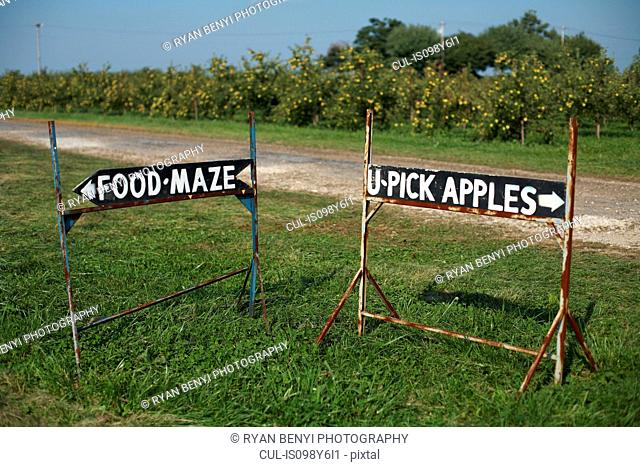 Signs on pick your own farm