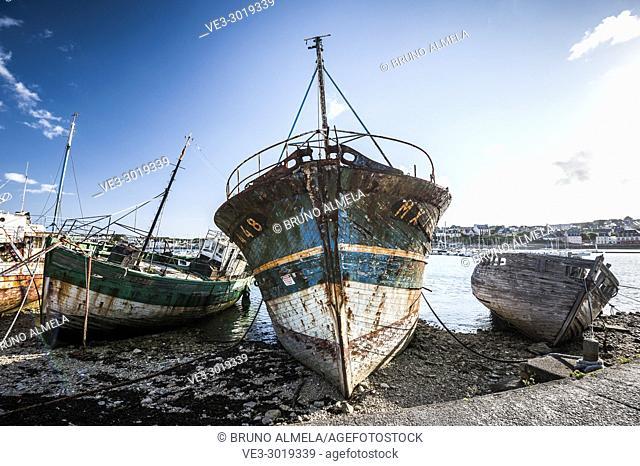 Graveyard of fishing boats in Camaret-sur-Mer (department of Finistère, region of Bretagne, France)