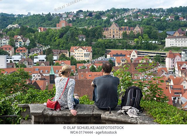 05. 06. 2017, Tuebingen, Baden-Wuerttemberg, Germany, Europe - A man and a woman enjoy the view from the Castle Hohentuebingen over Tuebingen's old town