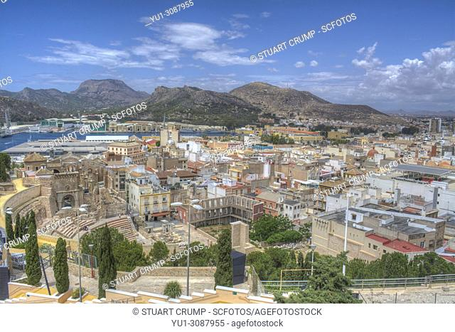 Panoramic view over the city of Cartagena, Murcia, Spain