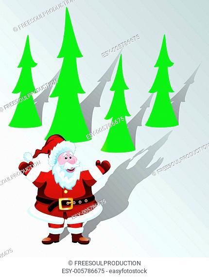 vector santa claus and trees