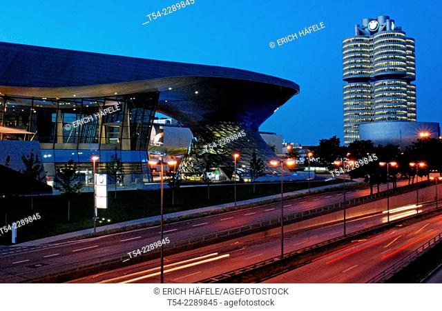 The BMW Welt in Munich during twilight