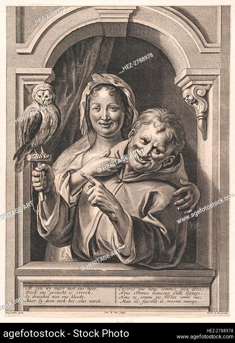 A Fool with an Owl and a Woman at a Window, 17th century. Creator: Pieter de Jode II