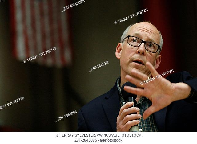 U. S. Rep. Greg Walden (R-OR) speaks during a constituent town hall meeting on April 13, 2017. Bend, Oregon, United States