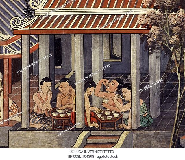 Detail of a mural painting showing people having a thai style meal.Thailand