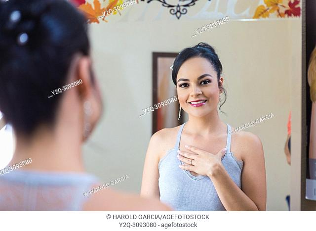Bride looking her self after make up
