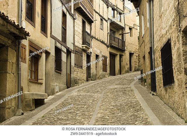 Traditional street of the medieval city of Frias, province of Burgos, Las Merindades County, Castilla y Leon, Spain