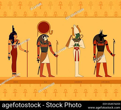 Illustrations of the gods of ancient Egypt. Isis, Ra, Osiris and Anubis on background