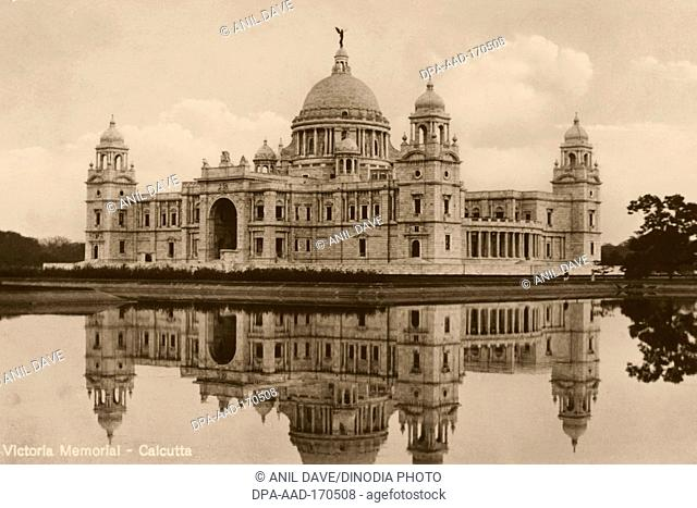 Old vintage 1900s Victoria Memorial, Calcutta, Kolkata, West Bengal, India, Asia