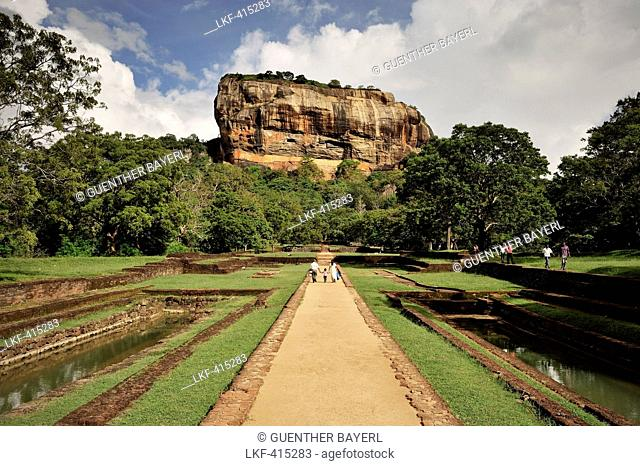 Liew at monolith of Sigiriya rock fortress, cultural triangle, UNESCO world herritage, Matale District, Sri Lanka