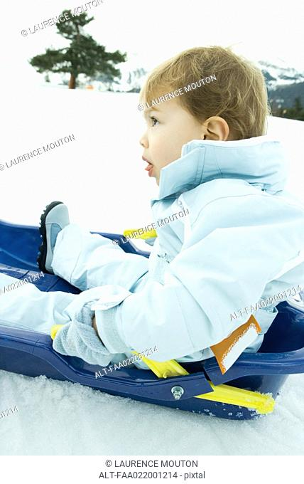 Little boy sitting on sled, looking up, side view