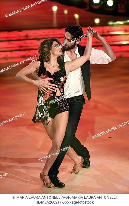 Samanta Togni with Antonio Palmese during the tv show Ballando con le stelle, Rome, ITALY-25-02-2017