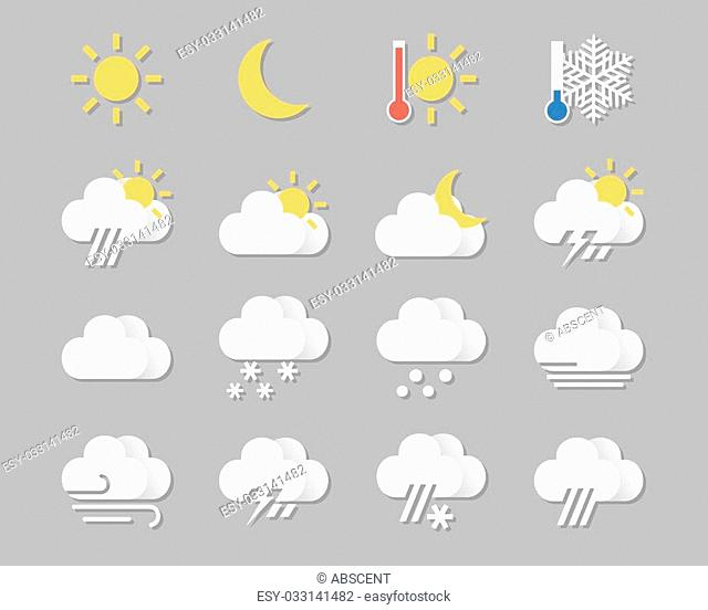 Weather icons set in flat style. template for mobile devices, web design. vector illustration