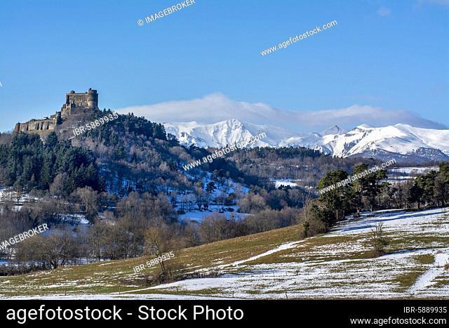 Castle of Murol in winter, Auvergne volcanoes natural park, Puy-de-Dome department, Auvergne-Rhone-Alpes, France, Europe