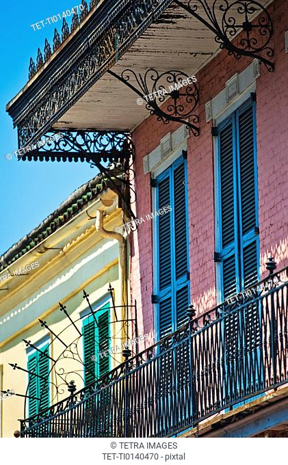 Balconies on building in the French Quarter of New Orleans